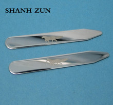 SHANH ZUN Stainless Steel Collar Stays Wolf Design Bones for Mens Shirt