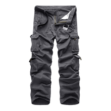 2018 Casual Multi Pocket Cargo Pants Men Cotton Zipper Fly Military Tactical Male Large Size 40 Tooling Trousers