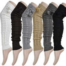 2017 fashion women's winter crochet knitted stocking footless leg warmers boot thigh high stockings