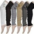 2016 das Mulheres da Moda Inverno Crochet Malha Lotação Footless Polainas Boot Meias Elevadas Da Coxa Frete grátis