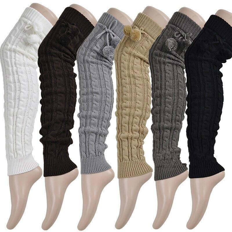2017 mode frauen Winter Crochet Strick Stocking Footless Stulpen Stiefel Oberschenkel Hohe Strümpfe weiß schwarz grau