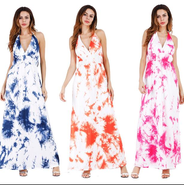 2019 Summer Long Dress V-neck Floral Print Boho Beach Dress Tunic Maxi Dress Women Evening Party slim dress Vestidos de festa XL