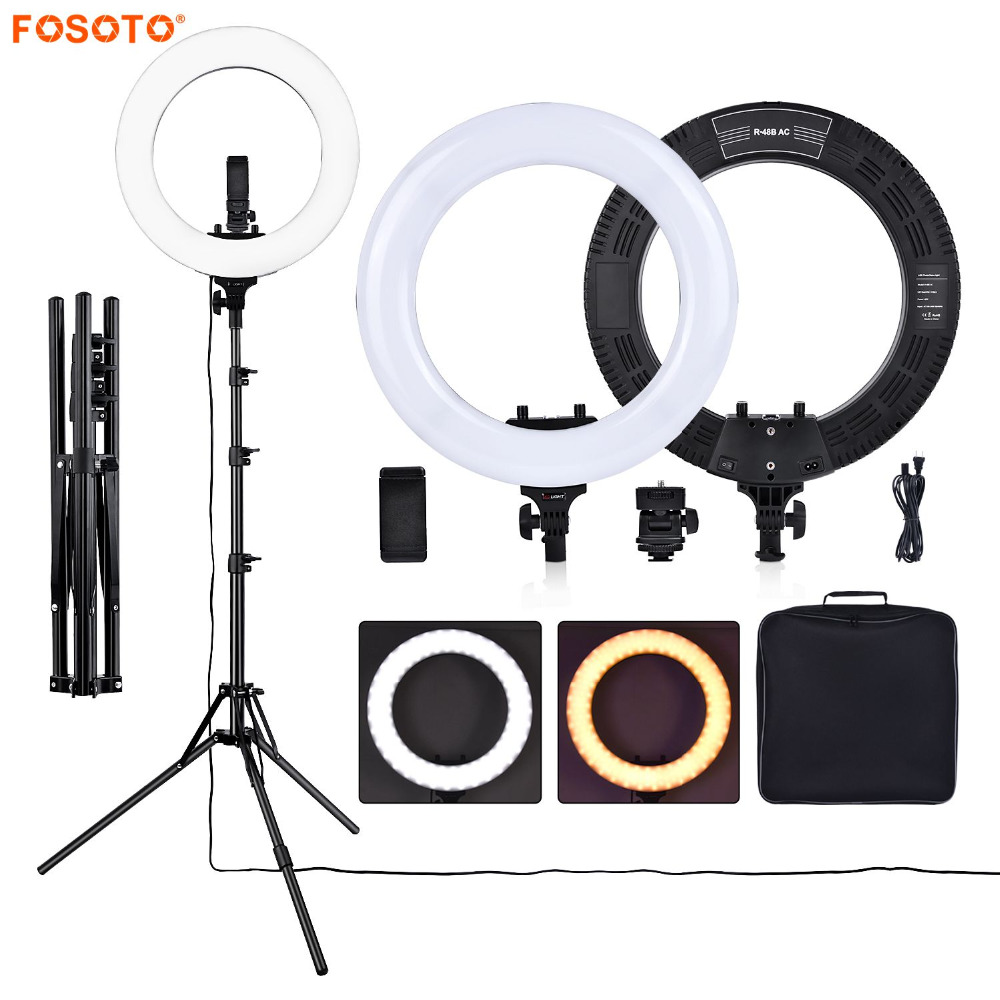 fosoto R48B 48W 3200-5600K 432 LEDs Photographic Lighting Dimmable Camera Photo Phone Photography Ring Light Lamp&tripod Stand
