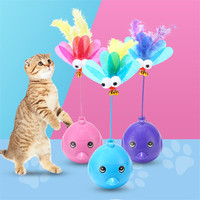 Interactive Laser Cat Toy 3 in 1 Multi Function Automatic Spinning Cat Toy Ball Tumbler with Laser and Food Dispenser for Cat