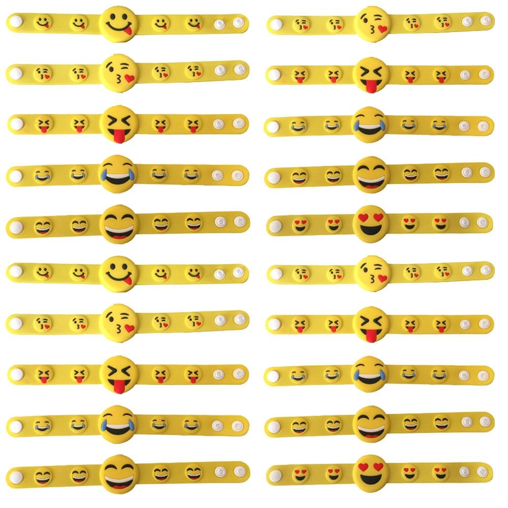 Satkago 20 PCS PVC Adults Kids Cartoon Face Expression Wristband Wrist Band Bracelet Christmas Gift Random Style