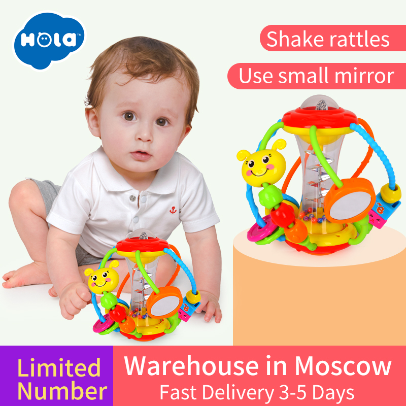 HOLA 929 Baby Toys Baby Rattles Educational Toys for Babies Grasping Ball Puzzle Multifunction Bell Ball 0-18 Months