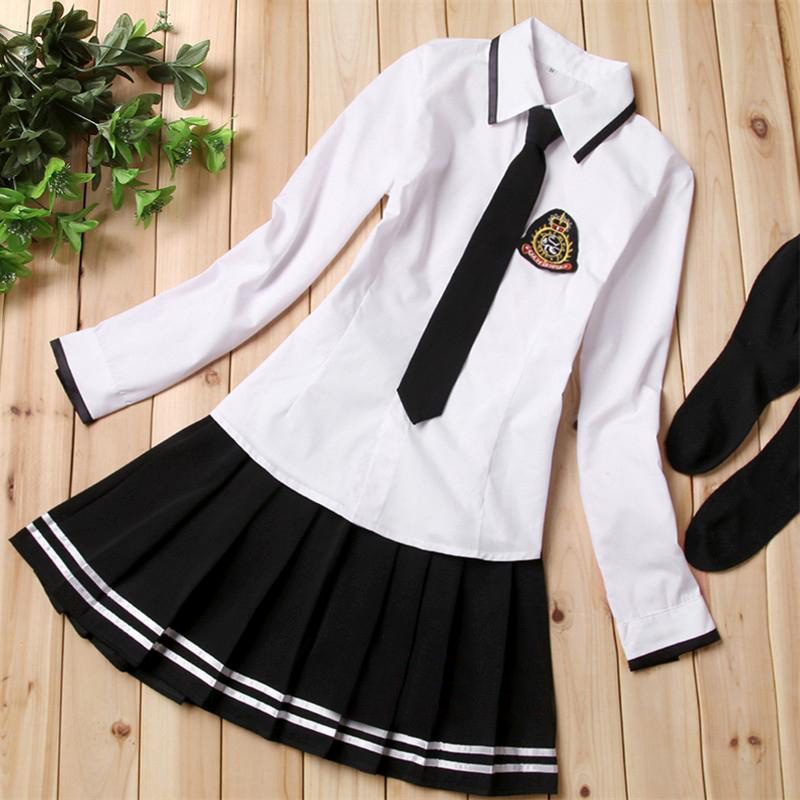 JK Japanese Long-sleeved Sailor Uniform Navy Sailor School Uniforms Girls Maid Cosplay Costume