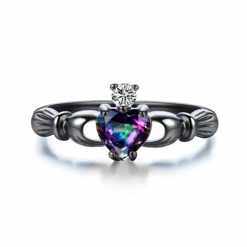 チャーム女性白、青オパール石リングヴィンテージブラックゴールドの結婚指輪愛クラダ婚約リング