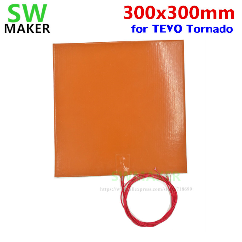 SWMAKER 110V / 220V 500W Silicone Heating Pad Heater 300x300mm 12