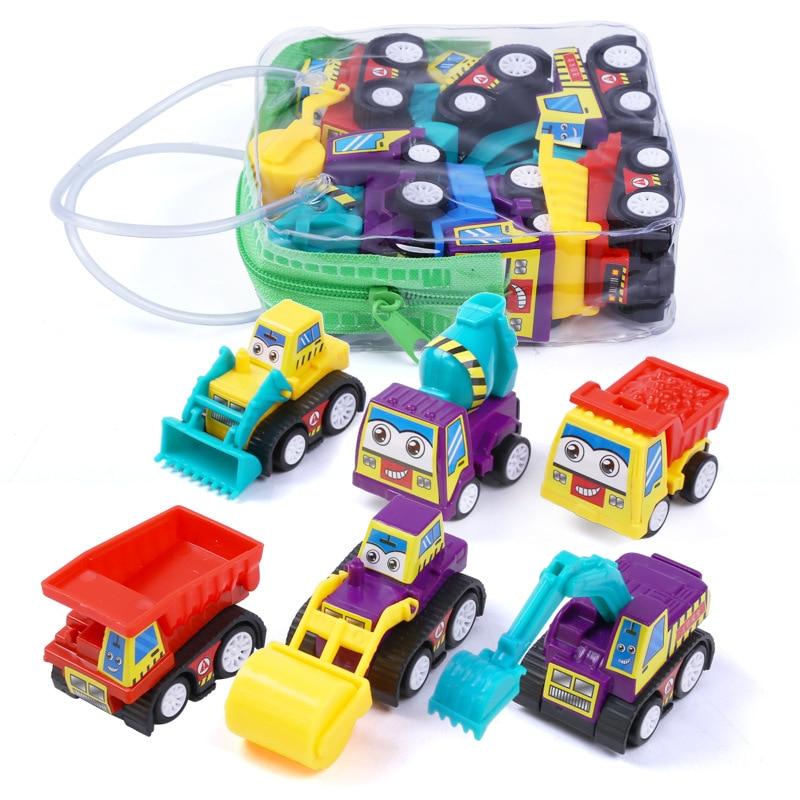 6Psc/Set Cartoon Mini Inertia Pull Back Move Forward Automatically Car Construction Vehicle Fire Truck Model Gift Children Toys
