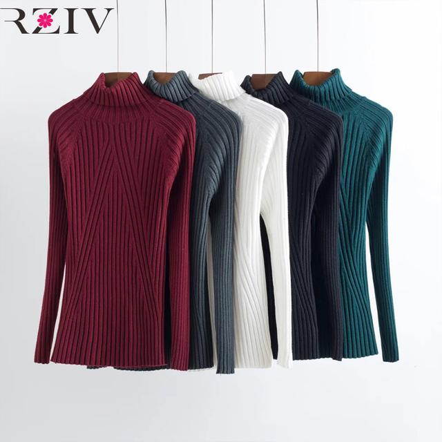RZIV 2016 ropa de invierno de las mujeres casual mujer suéter de cuello alto de manga larga mujeres suéteres y suéteres de la raya de punto