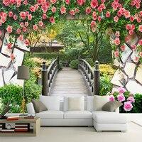גשר עץ גפן פרח טפט ציור קיר מותאם אישית ציור נוף קיר לבנים 3D סלון קישוט קיר רקע תמונה