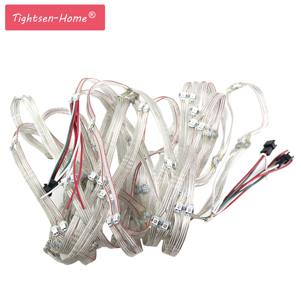 50-100PCS WS2812B LED Module String Panel Pre-soldered On Heatsink With 10CM Wire 5V WS2812 Built-in SMD5050 RGB Idividually