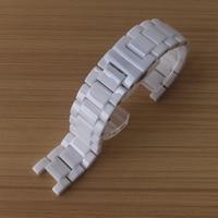 Saatler'ten Saat kayışları'de 20mm içbükey 11mm End özel saat kayışı izle aksesuarları solmaya asla parlak seramik beyaz elmas saatler 16mm içbükey 9mm