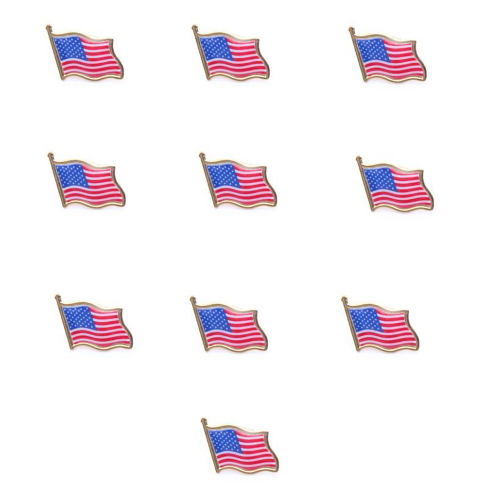 10pcs lot national flag country flag stick flags flag of the united - 10pcs American Flag Lapel Pin United States Usa Hat Tie Tack Badge Pin China