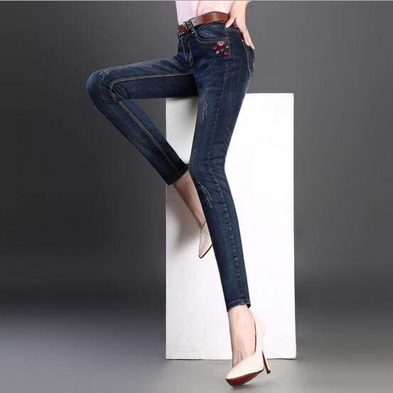 New women Jeans Fashion Embroidery Washed Ripped Slim Stretch denim pants trousers S191