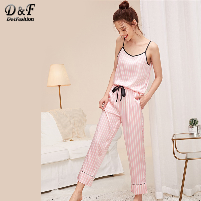 Dotfashion Pink Knot Striped Satin Cami Top With Pants PJ Set 2019 Summer Pajamas For Women Casual Sleepwear Ladies Pajama Sets