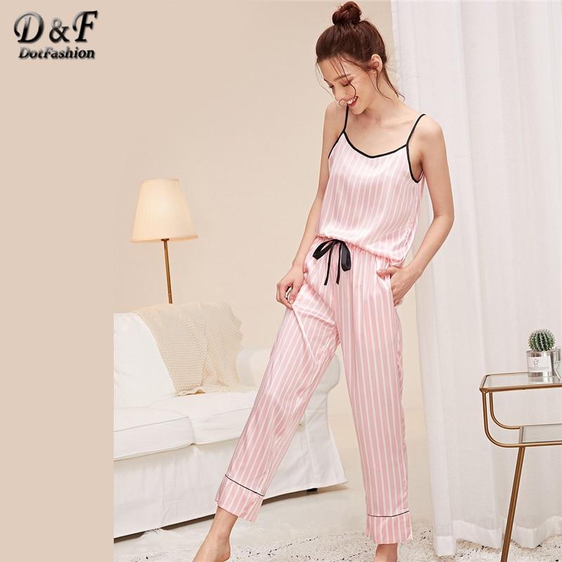 Dotfashion Pink Knot Striped Satin Cami Top With Pants PJ Set 2019 Summer Pajamas For Women Casual Sleepwear Ladies Pajama Sets