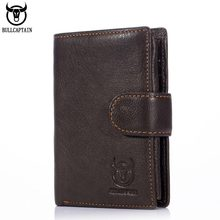 BULL CAPTAIN Leather Wallet Hasp Short Leisure Mens Slim Credit Card Holder Bifold Purse Money Bags Cowhide Design Pocket Pouch