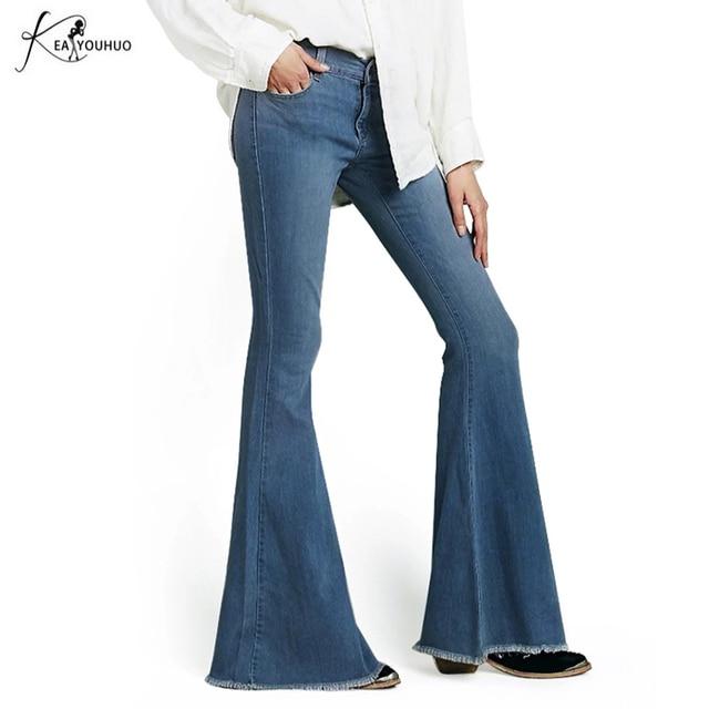 e528aea96df 2018 Black Winter High Waist Flare Jeans Boyfriend Jeans For Women Bell  Bottom Denim Skinny Jeans Woman Female Wide Leg Pants