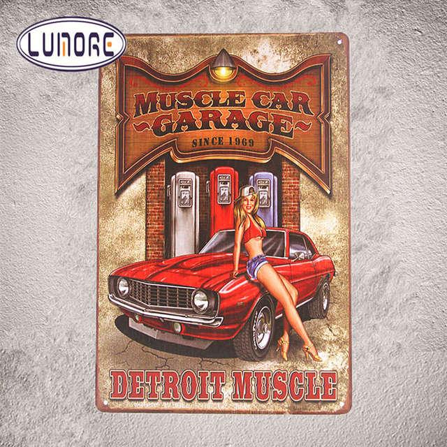 Hot Gift Muscle Car Garage Rod Custom Metal Tin Sign Pin Up Wall Decor