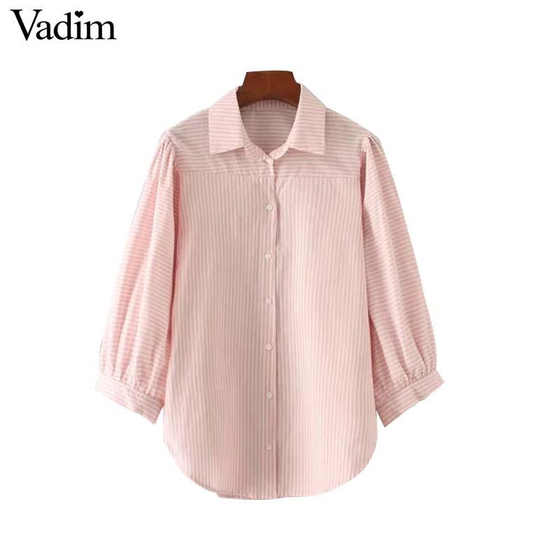 Vadim women elegant striped long shirts three quarter sleeve turn down collar pleated blouse ladies casual tops blusas LT2124