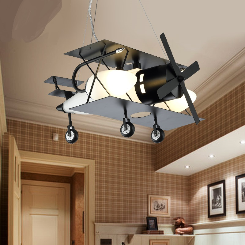 Children toy modern aircraft children room creative cartoon retro pendant lighting LED lamp boy bedroom Pendant Lights ZA wrought iron chandelier aircraft lamp boy children master bedroom room led chandeliers creative cartoon