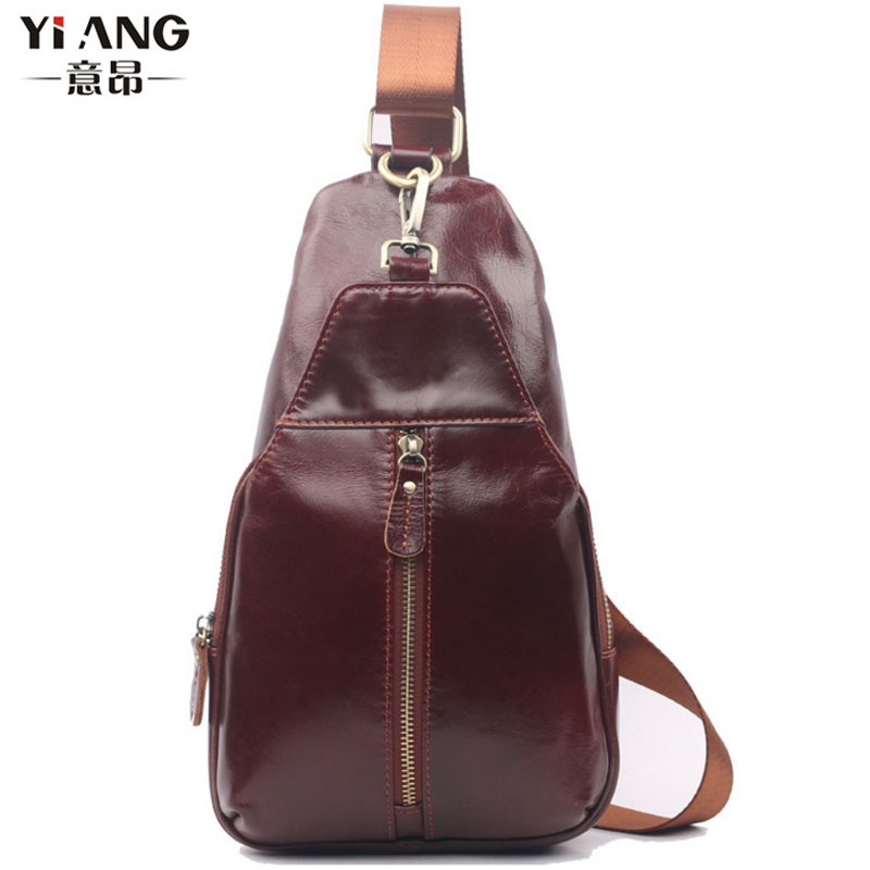 Men Retro First Layer Cowhide Sling Chest Back Pack Travel Riding Genuine Leather Sling Messenger Shoulder Bag men s genuine leather belt buckle back pack shoulder messenger unbalance sling chest bag
