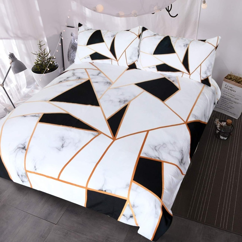 Marble Print Bedding White And Black Geometric Marble Duvet Cover 3 Pieces Elegant Faux Rose Gold Bed Sets Bedding Sets Aliexpress