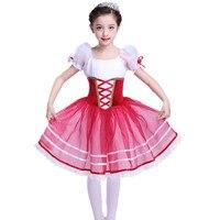 New Romantic Tutu Giselle Ballet Costumes Child Girls Long Tulle Dress Skate Ballerina Dress Short Sleeve Princess Dress