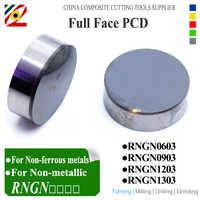 EDGEV 2 piezas de cara completa en un lado de las inserciones superiores PCD RNGN0603/04 RNGN1203 1204 RNGN1303 redondo de diamante herramientas de torneado