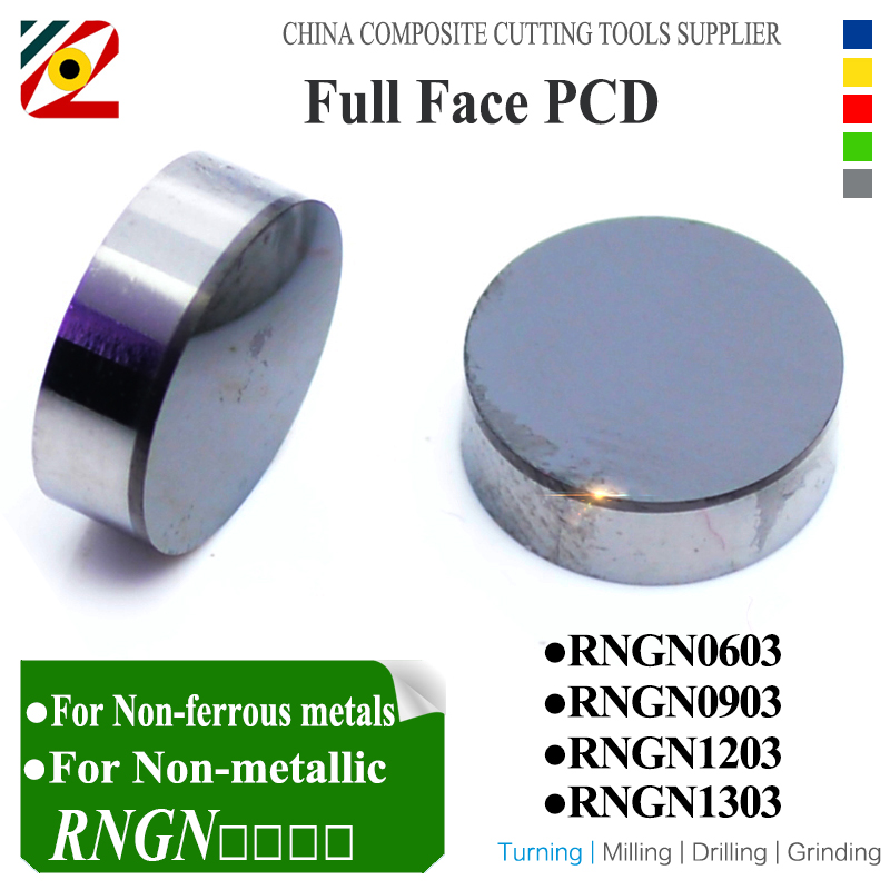 EDGEV 2PCS Full Face PCD Diamond Inserts RNGN0603 RNGN0903 RNGN0904 RNGN1203 RNGN1204 Round Insert Tool Turning Tools
