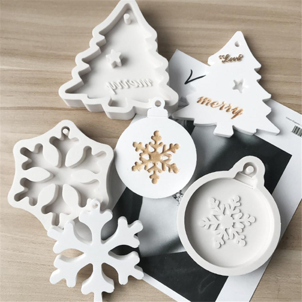 DIY Christmas Snowflake Christmas Tree Liquid Silicone Mold Aroma Candle Gypsum Clay Mold With Hole