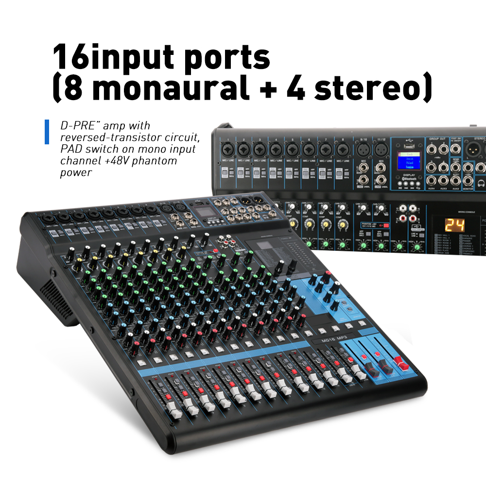 G-MARK MG16 16 canal console De Mixage Bluetooth USB de charge mélangeur audio HD DJ Lecteur Indépendant