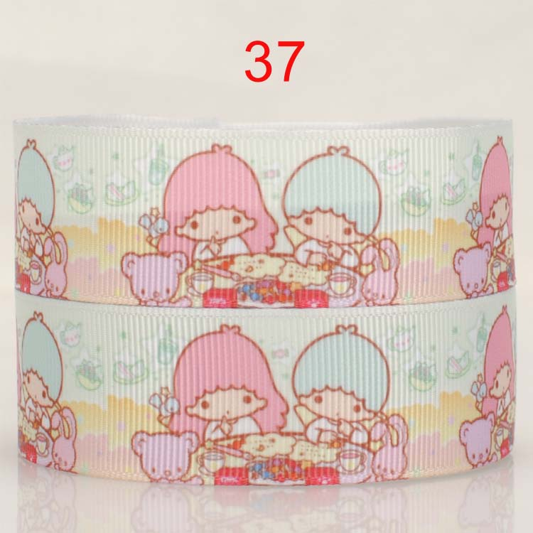 Free shipping 50yards 7/8  22 mm new arrivals eat lovely little twin star pattern printed grosgrain ribbon DIY accessories