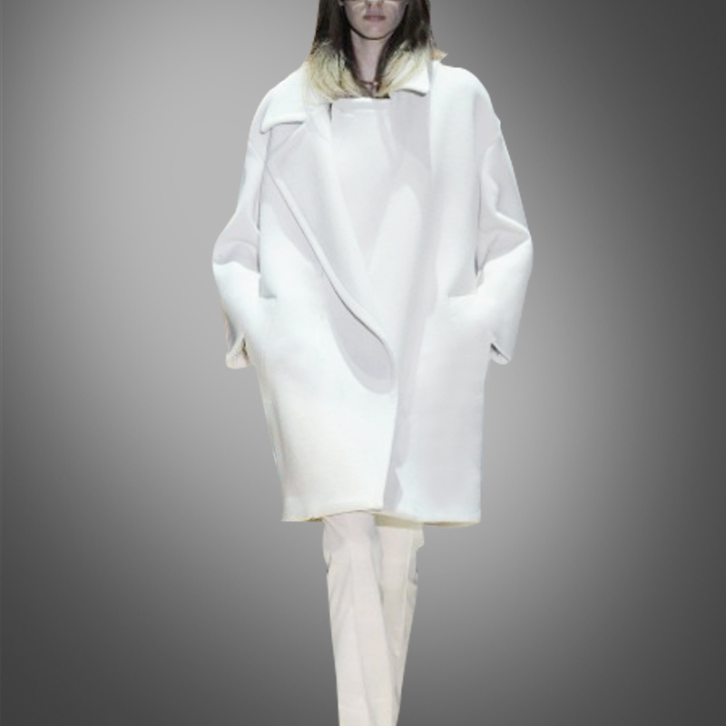 White Manteau De Long Couvert Bayan Promotion Style Manteaux Solide Le Dans Corps Kaban Plein À Taille Poches Lâche Large Cachemire Nouveau TTCFqRcp