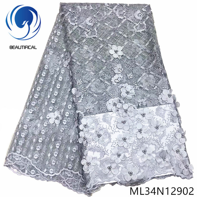 BEAUTIFICAL african lace grey 3d lace tull fabric with beads party net laces 5 yards ML34N129