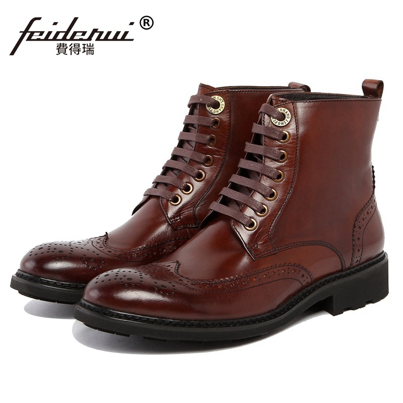 2018 New British Style Man Carved Brogue Oxford Shoes Brand Male Genuine Leather Platform Footwear Men's Martin Ankle Boots GK73 serene handmade winter warm socks boots fashion british style leather retro tooling ankle men shoes size38 44 snow male footwear