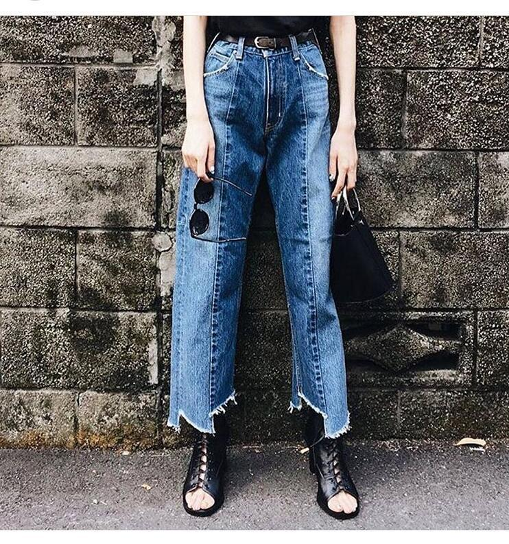 Livagirl Ankle-length Pants Retro Waist Loose Version Of Double Color Washing Stitching Irregular Trousers Wide Leg Jeans Female