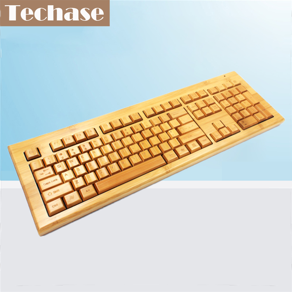 Techase Wireless Wood Membrane Keyboard Teclado Mecanico Bamboo Design 2.4Ghz Gaming Keyboard Mekanik Klavye Teclado Inalambrico