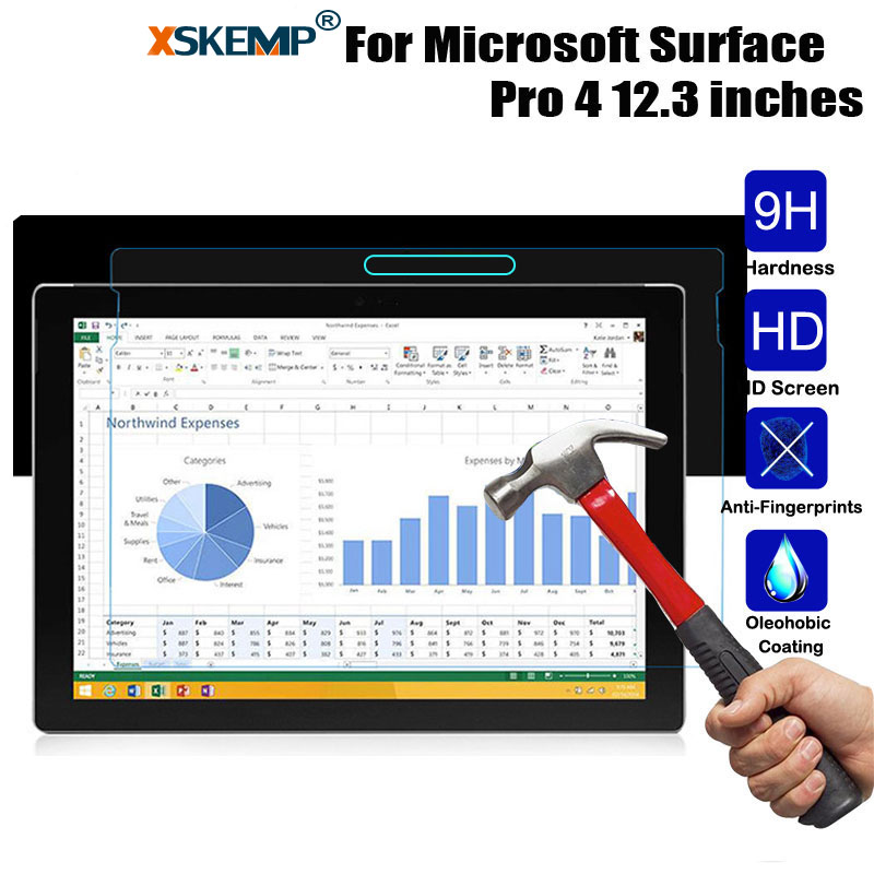 XSKEMP 9H Hard Explosion Proof Tempered Glass Film For Microsoft Surface Pro 4 12.3 inch 0.3mm Tablet PC Screen Protector Cover tempered glass screen protector for microsoft surface pro 5 4 3 2 pro4 pro3 pro2 rt rt2 rt3 surface3 tab tablet protective film
