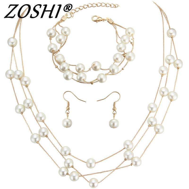 5724e8714f49 Zoshi vintage simulado perla Juegos de joyería para las mujeres Boda nupcial  oro plata gargantilla collar Pendientes pulsera Africana conjunto