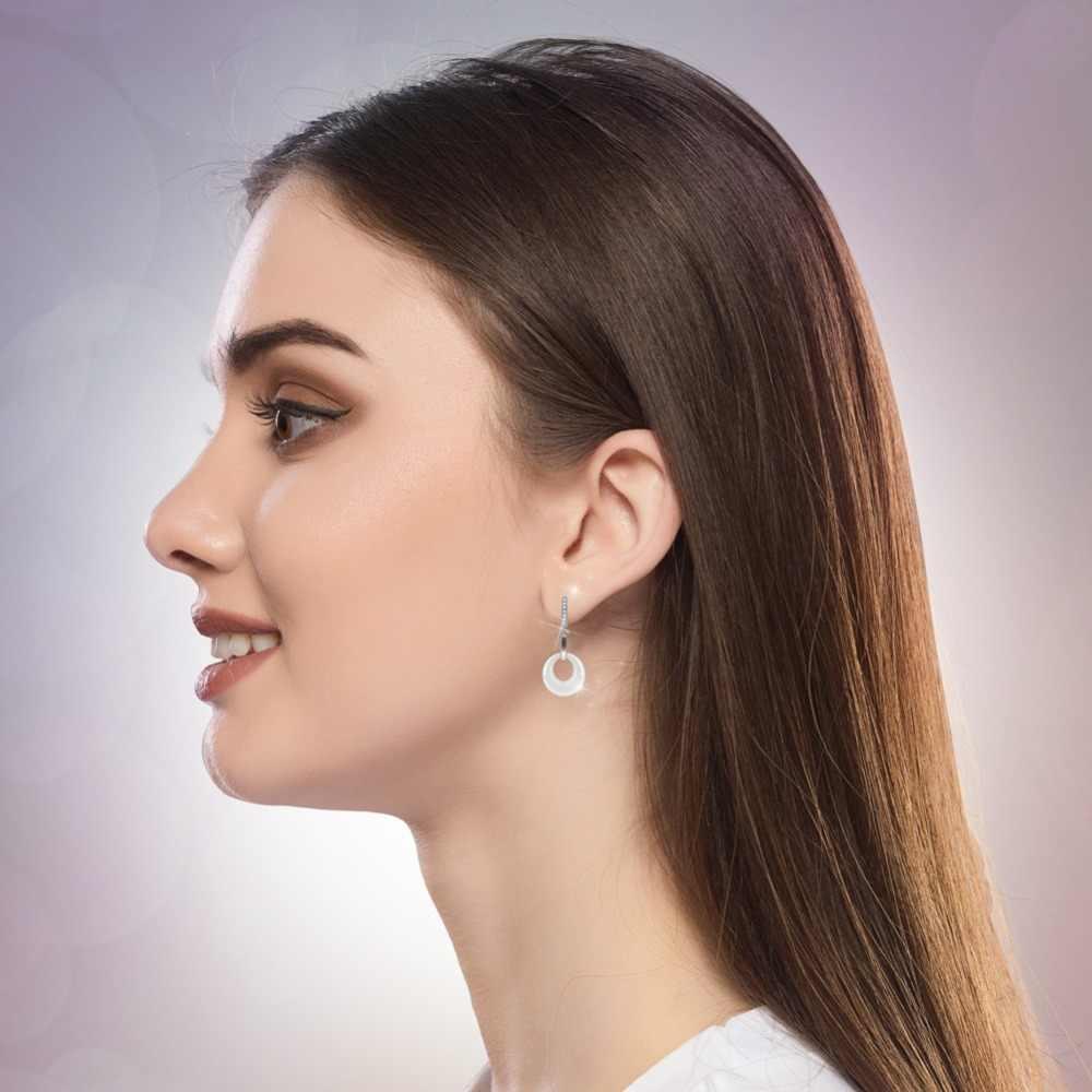 Thời trang Khỏe Mạnh Ceramic Bông Tai Vòng Phong Cách Đơn Giản Với Bling Pha Lê Cubic Zirconia Cho Phụ Nữ Drop Earrings Hàng Ngày Mặc Đồ Trang Sức