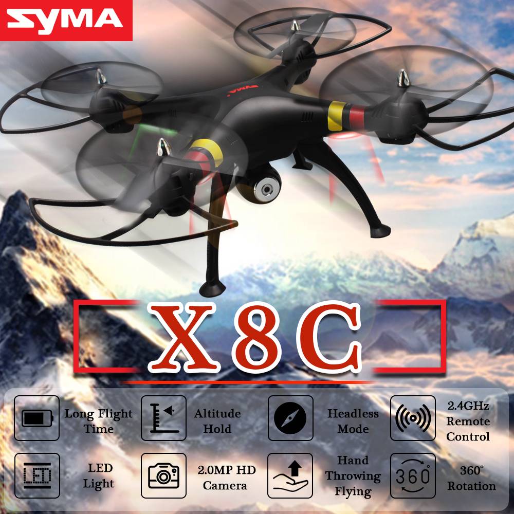 SYMA X8C Professional Drone with 2.0MP HD Camera Remote Control Quadcopter 2.4G 4CH RC Helicopter UAV Toys 3D Rotation LED Light original rc helicopter 2 4g 6ch 3d v966 rc drone power star quadcopter with gyro aircraft remote control helicopter toys for kid