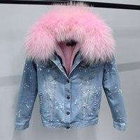 Лидер продаж корейский 100% натуральной большой енота меховой воротник Для женщин Зимняя куртка джинсовые плотные короткие синие джинсы вер