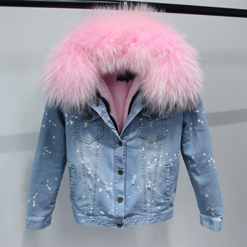 Korean 100% Natural Real Large Raccoon Fur Collar Women Winter Coat Jacket Denim Thick Short Blue Jeans Outwear Parkas