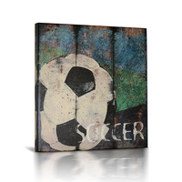 European Classic Retro Football Oil Painting Art Vintage Home Decor Country Style Canvas Art Oil Painting