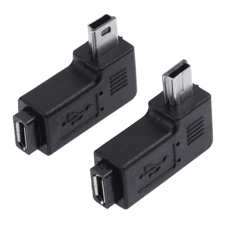 Mini USB Female to Micro USB Male 90 Degree Right Left Angle Adapter Connector Black
