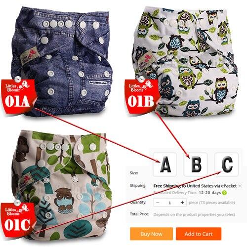 [Littles& Bloomz] Детские Моющиеся Многоразовые Тканевые карманные подгузники, выберите A1/B1/C1 из фото, только подгузники/подгузники(без вставки - Цвет: 01