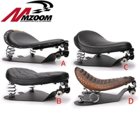 Motorcycle Solo Seat Baseplate & Springs & Bracket Mounting Kit Cushion Spring Base Metal + Leather for Sportster Bobber Chopper